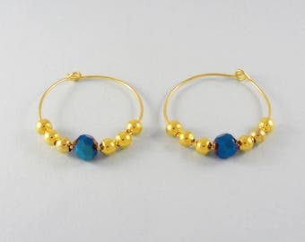 Dark blue crystal bead earrings - gold hoops - beaded hoop earrings - handmade earrings