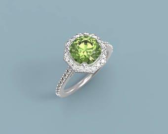 Peridot Engagement Ring White Gold Peridot Ring Halo Peridot Diamonds White Gold Engagement Ring Peridot Halo Engagement Ring Halo