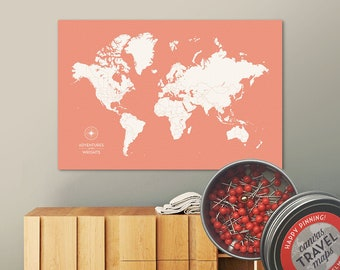 Push Pin Map (Sunset) Push Pin World Map Pin Board World Travel Map on Canvas Push Pin Travel Map Personalized Wedding/Anniversary Gift