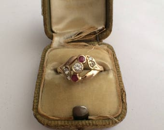 Vintage 14K Yellow Gold Diamond and Natural Ruby Ring Circa 1940