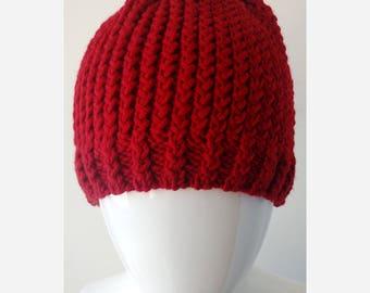 RED Textured Rib Merino Wool Hand Knit Hat, Toque, Beanie, Chunky, Berry, Bright, Women, Ladies, Small, Hygge