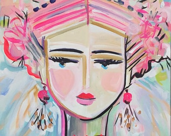Warrior Girl PRINT woman portrait, abstract faces, Maren Devine