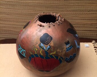 Vintage Southwestern Gourd Painting of Indian Large Tribal Art Vase Vessel