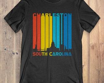 Retro 1970's Style Charleston South Carolina Skyline Vintage T-Shirt