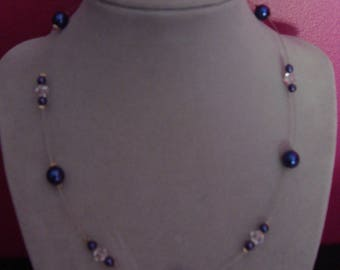 Fashion Necklace dark blue glass and bicone Crystal beads