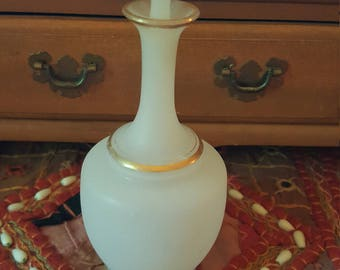 Vintage perfume glass bottle. Art deco...satin finish. 1920s.