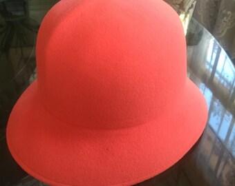 Vintage wool hat in tangerine union made!