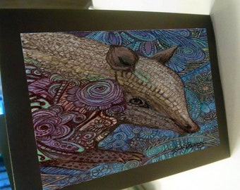 greeting card print of original art-  armadillo Zentangle spirit animal