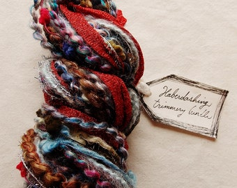 Lighthouse red tinsel ribbon blue brown painterly trim pom garland Novelty Fiber Yarn Sampler Bundle