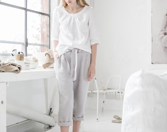 Linen blouse with sleeves MARBELLA. 18 colours. Handmade linen clothes for women. Womens linen top.