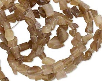 "WHOLESALE - Taupe Cat's Eye Small Gemstone Chips (Three 32"" Strands)"