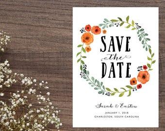 Rustic Save the Date, Flower wreath Save the Date, Bright Floral Save the Date