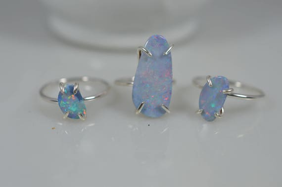 Sterling Silver Opal Doublet Statement Ring - Choose your stone size!