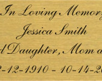 """Personalized Engraving, Engraved Brass Plate Brushed, 1"""" X 3""""  w/ 4 Line Text, Laser Engraved Plates, Name Plate Memorial, Adhesive Backing"""