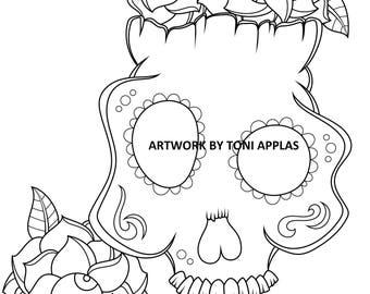 Sugar Skull Coloring Page, Instant Digital Download Coloring Page, Original Day of the Dead Art, Dia De Los Muertos, Adult Coloring Page