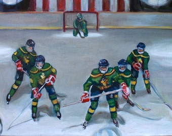 Mighty Ducks - Flying V Original Painting - 1990s Throwback Movie Pop-Culture - 12x16 Gallery Wrapped Canvas