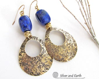 Lapis Earrings, Brass Hoop Earrings, Handmade Modern Jewelry, Gold Dangle Earrings, Lapis Lazuli Earrings, Gold Hoops, Blue Stone Earrings