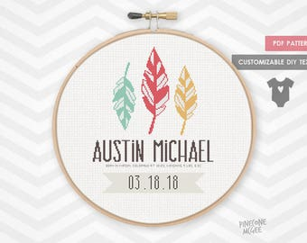 FEATHER BABY ANNOUNCEMENT counted cross stitch pattern, modern shower gift pdf