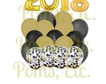 2018 graduation balloons- Photo Prop Pack- Confetti Balloons- number balloons/ mylar/ gold/ black or Custom colors