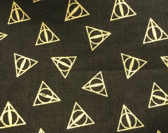 Harry Potter Deathly Hallows Symbol with Gold and Black Pillowcase