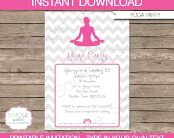 Yoga Invitation Template - Birthday Party - INSTANT DOWNLOAD with EDITABLE text - you personalize at home
