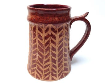Seconds Rust Colored Chevron Patterned Beer Stein