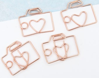 Camera Planner Paper Clips Set of 4 Love Heart Accessories Page Marker