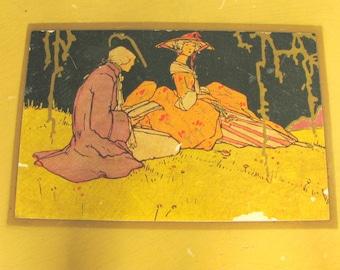 Vintage Gold Painted Wood Vanity / Dresser Glove Box