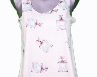 all over print tank top perfume / / full print perfume perfume girl tank top