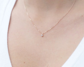 Rose gold necklace etsy tiny rose gold necklace dainty rose gold necklace rose gold choker cz necklace simple necklace minimalist necklace bridesmaid gift aloadofball Gallery