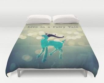 Live in a Fairy Tale Comforter or Duvet Cover: Home decor, bedding, girl's room, sparkle, deer, glass animal, blue, aqua