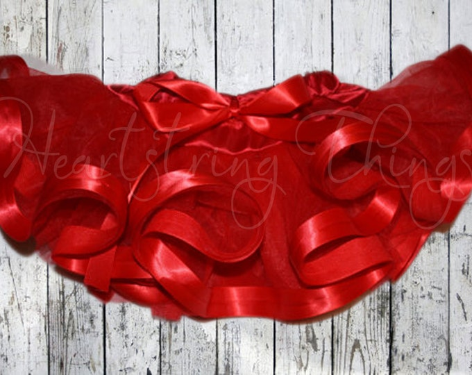 Red Chiffon Pixie Pettiskirt lined with Satin Ribbon adapted from Petti Skirt for Baby or Child