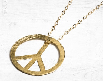 Peace sign necklace hippie necklace statement necklace boho necklace hippie jewelry long necklace bohemian jewelry unique necklace boho