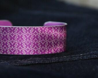 Pink butterfly aluminium cuff bracelet
