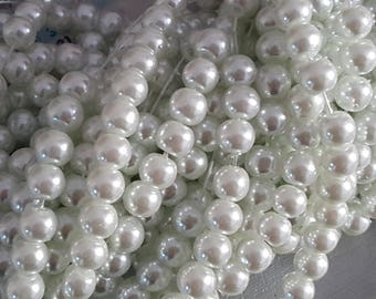 50 glass pearls 10 mm white, glass pearls