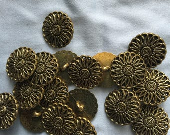 Metal round shank buttons 20 mm,bronze tone,lot of 10.,Imported from Italy