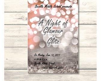 Glitz save the date etsy a night of glamour and glitz school danceprom homecoming invitationcard stopboris Choice Image