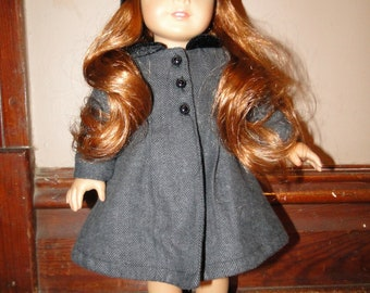 """18"""" doll clothes, gray pea coat with matching hat"""
