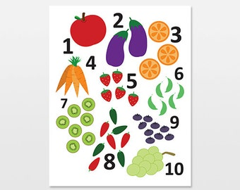 Numbers Art Print, Fruit and Vegetable Counting Wall Art, Colorful Food Nursery Decor