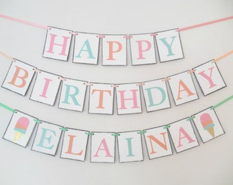 Ice Cream Social Birthday Banner Ice Cream Birthday Party Banner Ice Cream Cone Theme Banner Ice Cream Party Girl Birthday Summer Birthday
