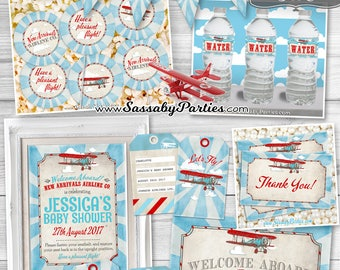 Vintage Airplane BABY SHOWER Collection - INSTANT Download - Partially editable & printable Invitation, Plane Invite, Decorations, Decor