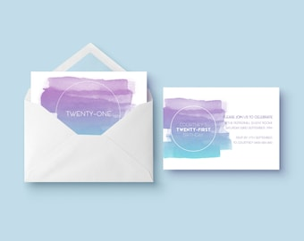 Printable Birthday Party Invitation | Watercolour Paint Invitation | Brushstroke Invite | Printable Invite | Watercolour Plume Invitation