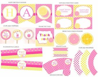 Pink Lemonade Party Package, Pink Lemonade party , Lemonade Birthday decorations, Yellow and Pink, Lemonade stand party, Digital File.
