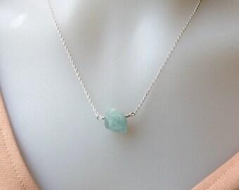 Raw Aquamarine Pendant, Aquamarine Necklace in Silver, March Birthstone Necklace, Aquamarine Nugget Pendant, Genuine Aquamarine Gemstone