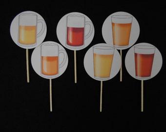Beer Tasting/OKTOBERFEST Cupcake Toppers/Food Picks/Sandwich/Drink/Food/ Party Picks-Set of 12