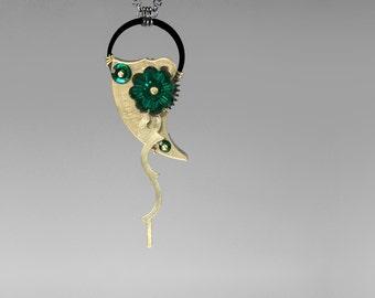 Steampunk Pendant with Emerald Swarovski Crystals, Statement Necklace, Swarovski Necklace, Green Crystal, Bridal Jewelry, Demeter v7
