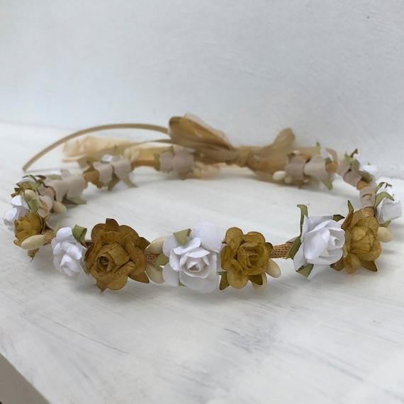 Baptism Crown, Bridesmaid Flower Wreath, Wedding Crown, Flowers Girls, Woodland Halo, Infant Headbands, Newborn Crown