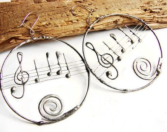 Musical circle earrigs stained glass tiffany technique Retro vintage style loops oxydized to old silver by GepArtJewellery,FREE SHIPPING!