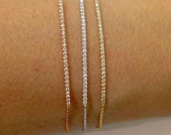 0.20 Carat Diamond Bracelet - Diamond Bar Tennis Line Bracelet 14K Yellow White Rose Pink Gold