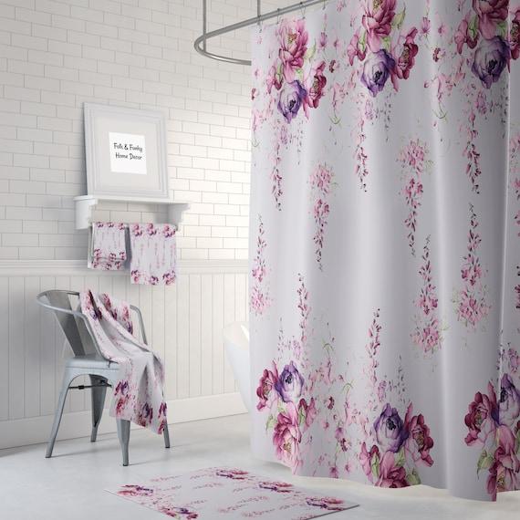 Lavendel Blumen Dusche Vorhang Badematte und Handtücher